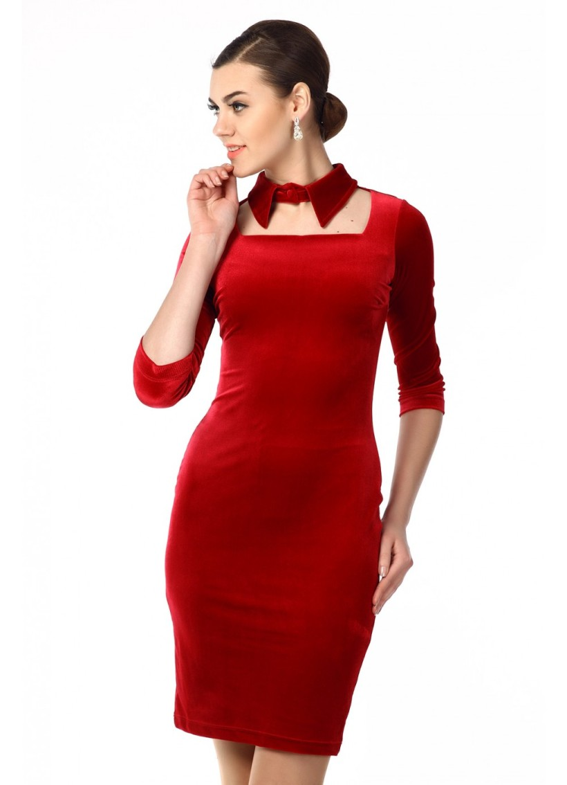 velur red dress